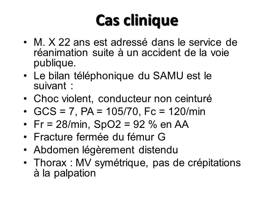 Cas Clinique (2) La prise en charge par le SAMU comprend : Pose de 2 VVP de gros calibre, remplissage par 2000 mL de Plasmion Induction danesthésie par Etomidate/Célocurine et intubation trachéale Au cours du transport, dégradation importante : – PA : 60/35, Fc = 150/min –SpO2 88 % en FiO2 100%