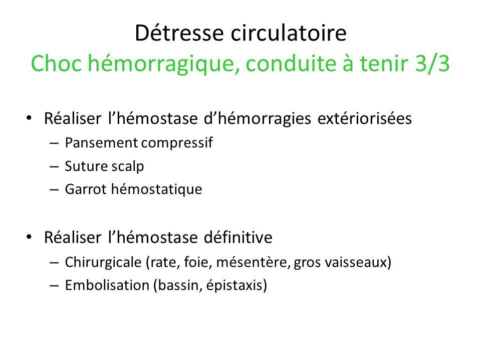 Détresse circulatoire Choc hémorragique, conduite à tenir 3/3 Réaliser lhémostase dhémorragies extériorisées – Pansement compressif – Suture scalp – G
