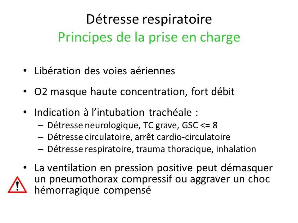 Détresse respiratoire Principes de la prise en charge Libération des voies aériennes O2 masque haute concentration, fort débit Indication à lintubatio