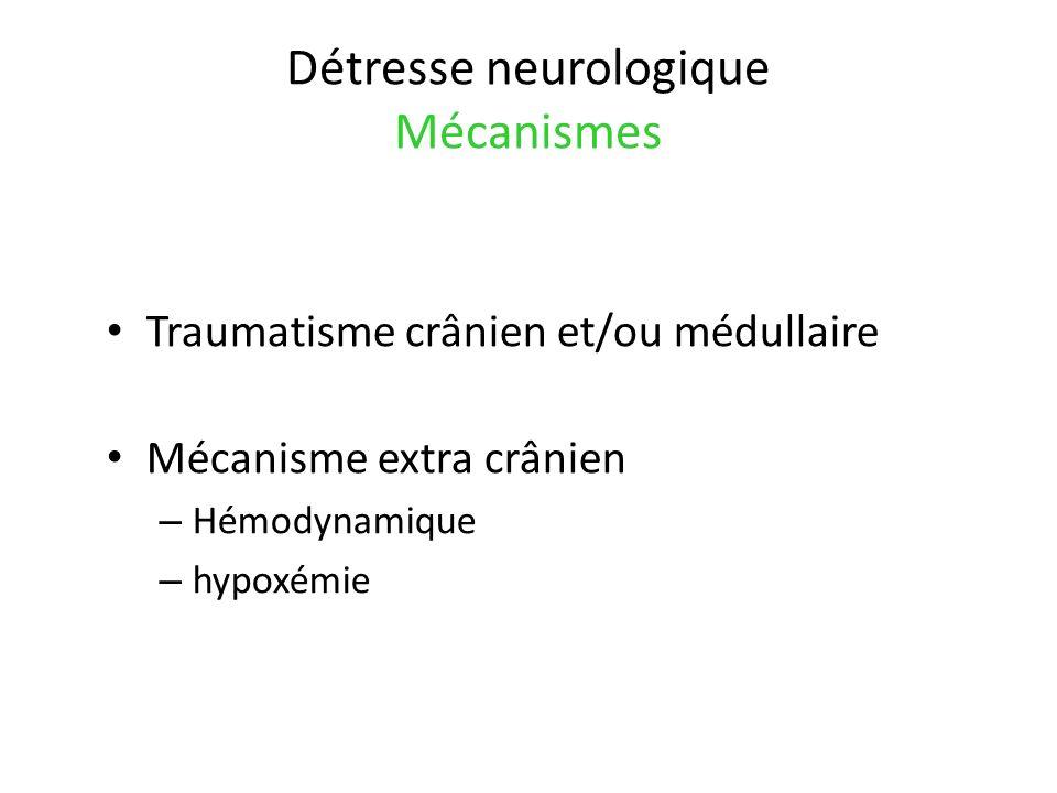 Détresse neurologique Mécanismes Traumatisme crânien et/ou médullaire Mécanisme extra crânien – Hémodynamique – hypoxémie