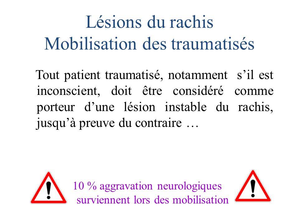 Lésions du rachis Mobilisation des traumatisés Tout patient traumatisé, notamment sil est inconscient, doit être considéré comme porteur dune lésion i