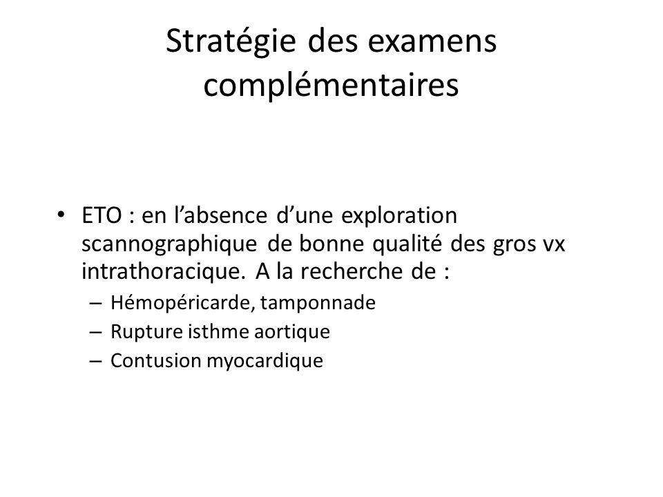 Stratégie des examens complémentaires ETO : en labsence dune exploration scannographique de bonne qualité des gros vx intrathoracique. A la recherche