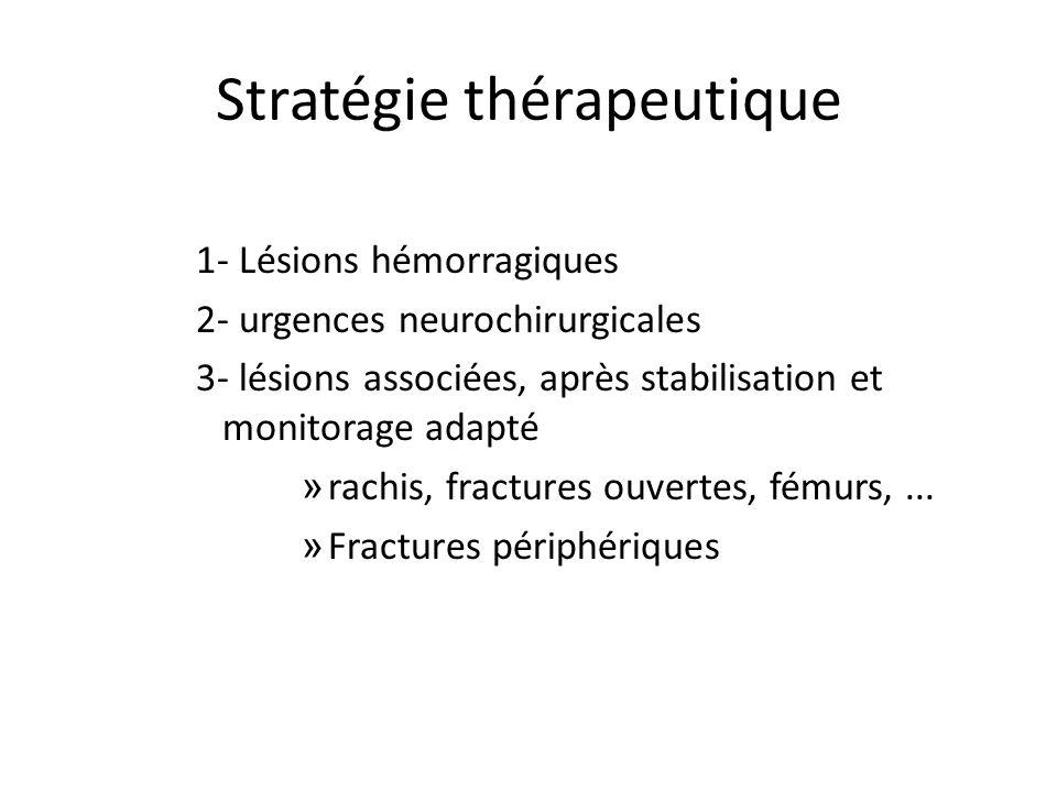 Stratégie thérapeutique 1- Lésions hémorragiques 2- urgences neurochirurgicales 3- lésions associées, après stabilisation et monitorage adapté » rachi
