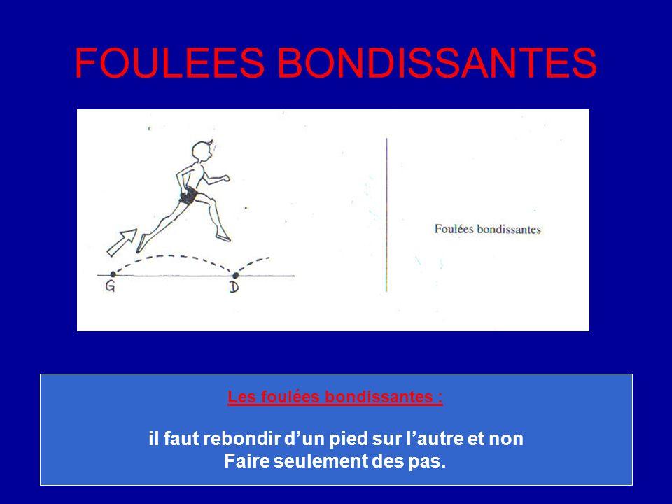 FOULEES BONDISSANTES Les foulées bondissantes : il faut rebondir dun pied sur lautre et non Faire seulement des pas.