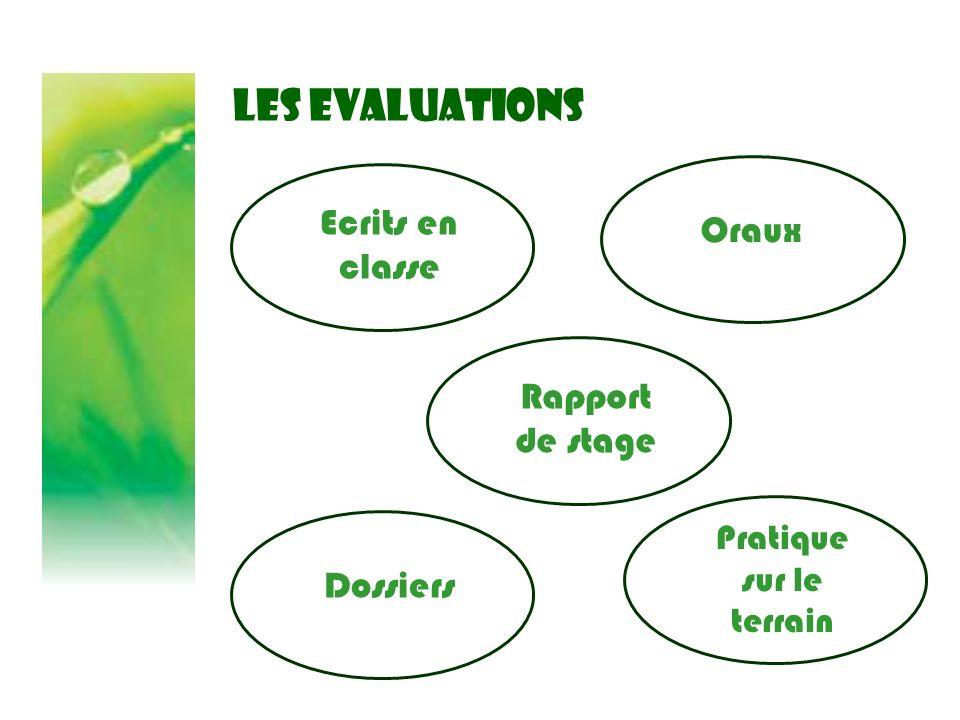LES EVALUATIONS Ecrits en classe Pratique sur le terrain Dossiers Rapport de stage Oraux