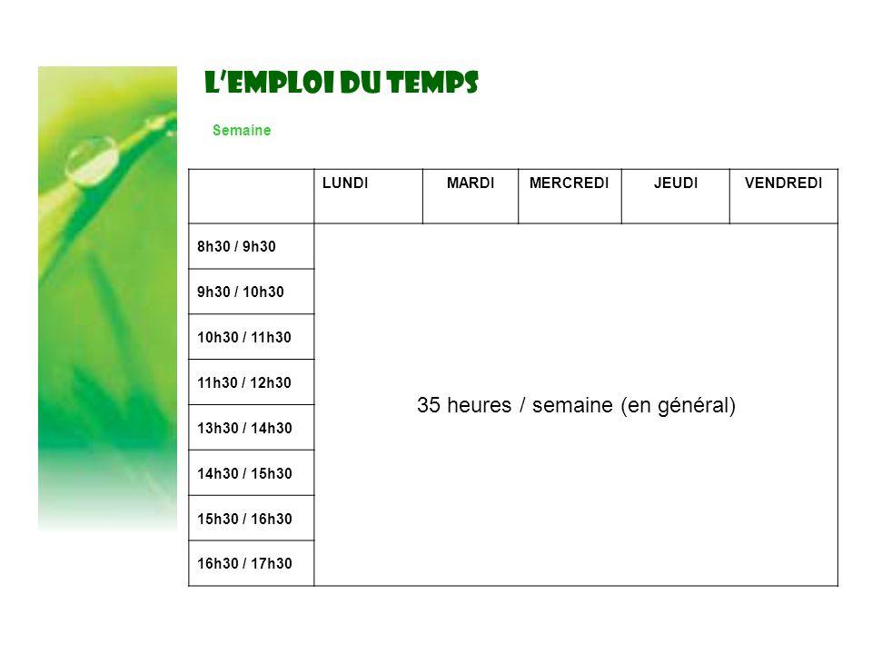 LEMPLOI DU TEMPS Semaine LUNDIMARDIMERCREDIJEUDIVENDREDI 8h30 / 9h30 35 heures / semaine (en général) 9h30 / 10h30 10h30 / 11h30 11h30 / 12h30 13h30 /