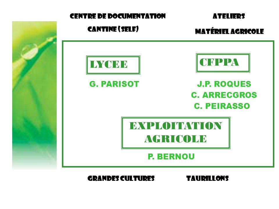CFPPA EXPLOITATION AGRICOLE LYCEE G. PARISOTJ.P. ROQUES P. BERNOU Centre de documentation Cantine (SELF) Grandes culturesTaurillons C. ARRECGROS C. PE
