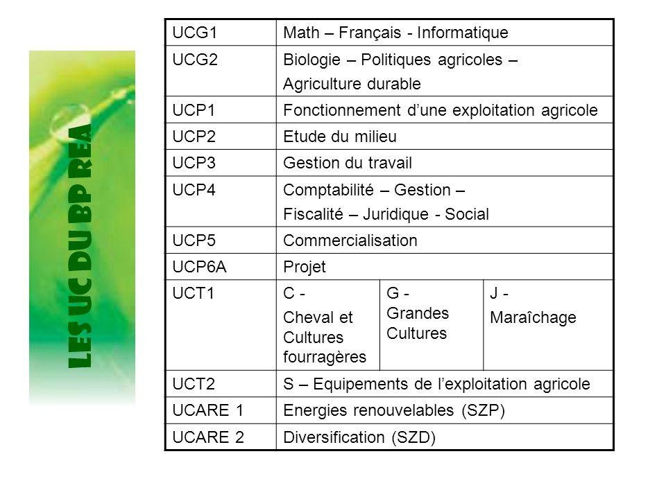 LES UC du BP REA UCG1Math – Français - Informatique UCG2Biologie – Politiques agricoles – Agriculture durable UCP1Fonctionnement dune exploitation agr