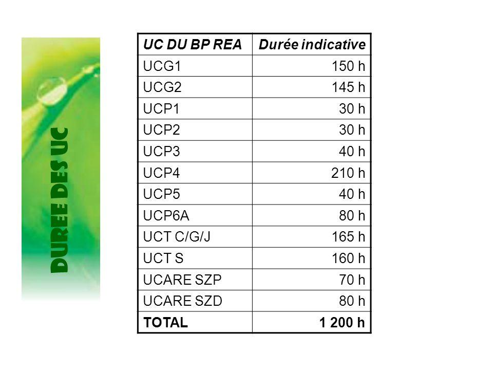 DUREE DES UC UC DU BP READurée indicative UCG1150 h UCG2145 h UCP130 h UCP230 h UCP340 h UCP4210 h UCP540 h UCP6A80 h UCT C/G/J165 h UCT S160 h UCARE