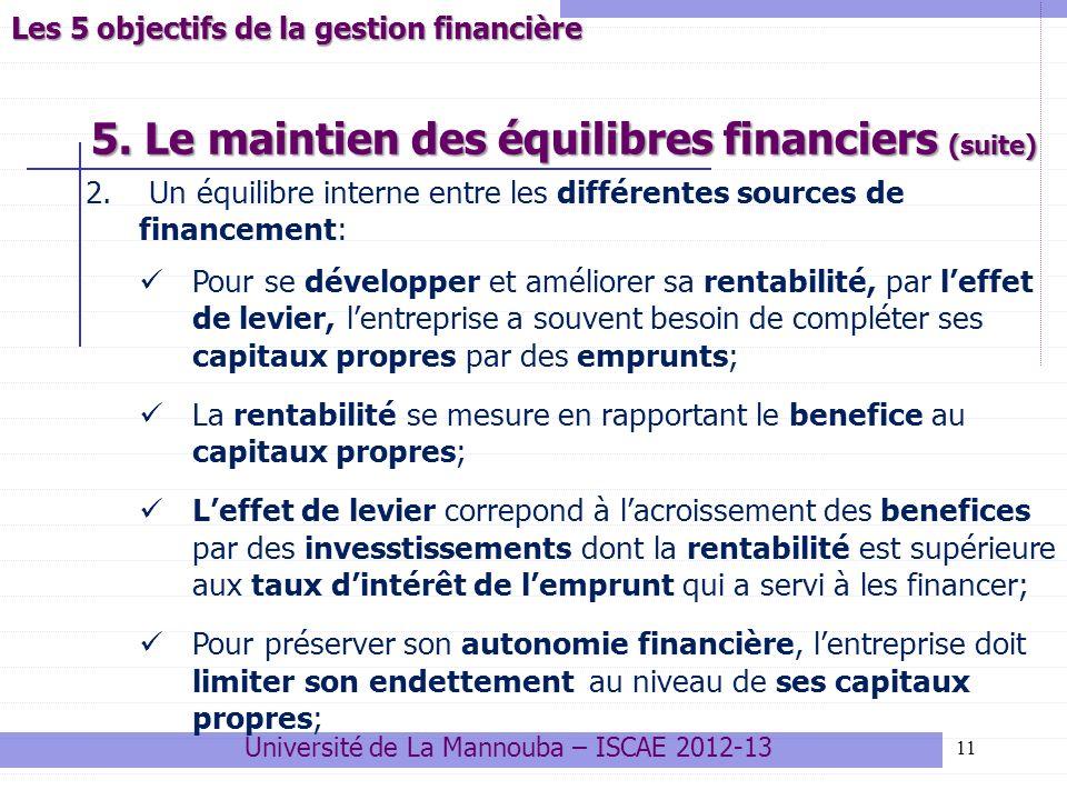5. Le maintien des équilibres financiers (suite) 11 2. Un équilibre interne entre les différentes sources de financement: Pour se développer et amélio