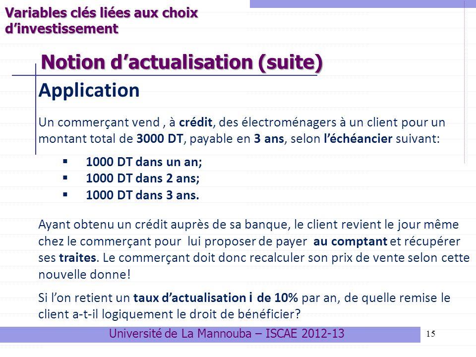 15 Application Un commerçant vend, à crédit, des électroménagers à un client pour un montant total de 3000 DT, payable en 3 ans, selon léchéancier sui
