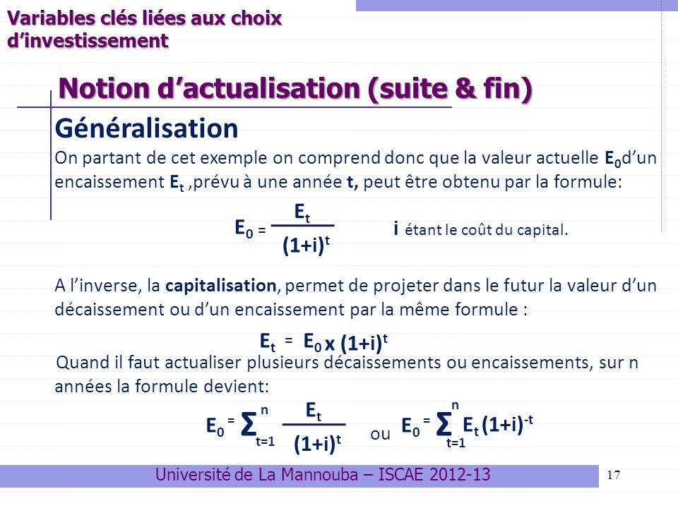 17 Généralisation On partant de cet exemple on comprend donc que la valeur actuelle E 0 dun encaissement E t,prévu à une année t, peut être obtenu par