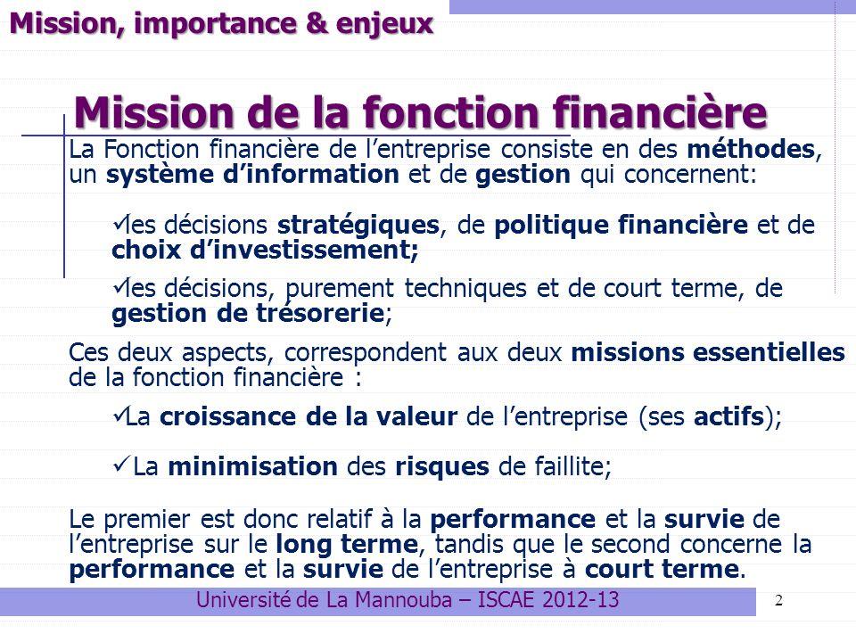 Mission de la fonction financière 2 Mission, importance & enjeux La Fonction financière de lentreprise consiste en des méthodes, un système dinformati