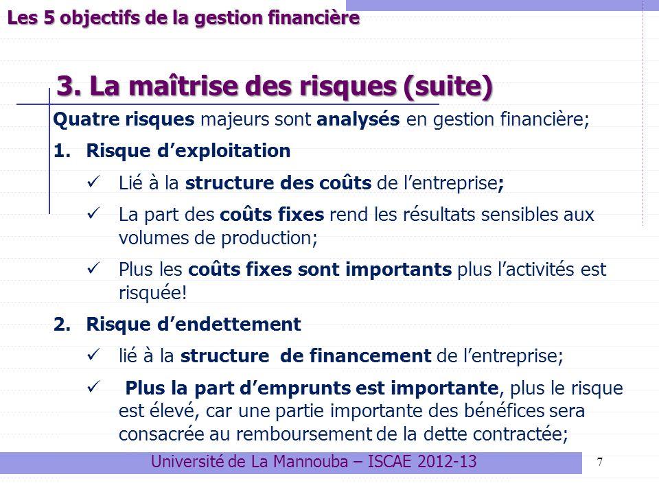 18 Le problème de linvestissement revient à comparer linvestissement initial I 0 aux gains futurs espérés G 1, G 2, G 3… G n, n étant la durée de vie du projet: La Valeur Actuelle nette du projet correspond justement à la différence entre le capital investi au présent et les gains futurs espérés actualisés: VAN = - I 0 + + ++ … Université de La Mannouba – ISCAE 2012-13 Variables clés liées aux choix dinvestissement Application à linvestissement : la VAN GtGt (1+ i ) t Ʃ VAN = -I 0 + t=1 n -I 0 +G 1 +G 2 +G 3 GnGn Actualisation Comparaison Temps G1G1 (1+ i ) 1 G2G2 (1+ i ) 2 G3G3 (1+ i ) 3 GnGn (1+ i ) n Projet rentable si VAN > 0