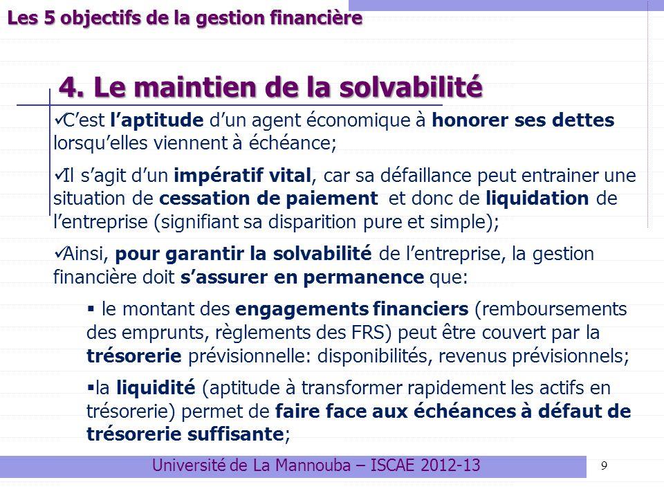 20 Université de La Mannouba – ISCAE 2012-13 Variables clés liées aux choix dinvestissement Autres critères dévaluation dun investissement Le délai de récupération de linvestissement (DR) Cest le temps au bout duquel le montant cumulé des gains actualisés atteint le capital investi.