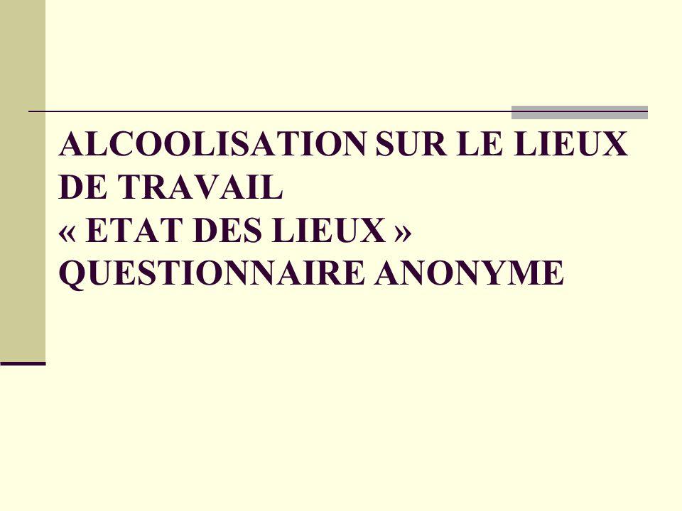 ALCOOLISATION SUR LE LIEUX DE TRAVAIL « ETAT DES LIEUX » QUESTIONNAIRE ANONYME