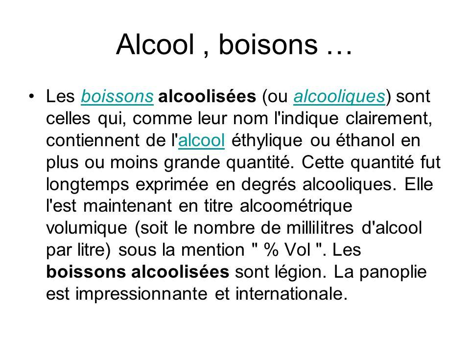 Alcool, boisons … Les boissons alcoolisées (ou alcooliques) sont celles qui, comme leur nom l'indique clairement, contiennent de l'alcool éthylique ou