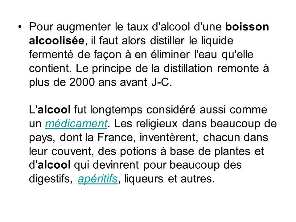 Pour augmenter le taux d'alcool d'une boisson alcoolisée, il faut alors distiller le liquide fermenté de façon à en éliminer l'eau qu'elle contient. L