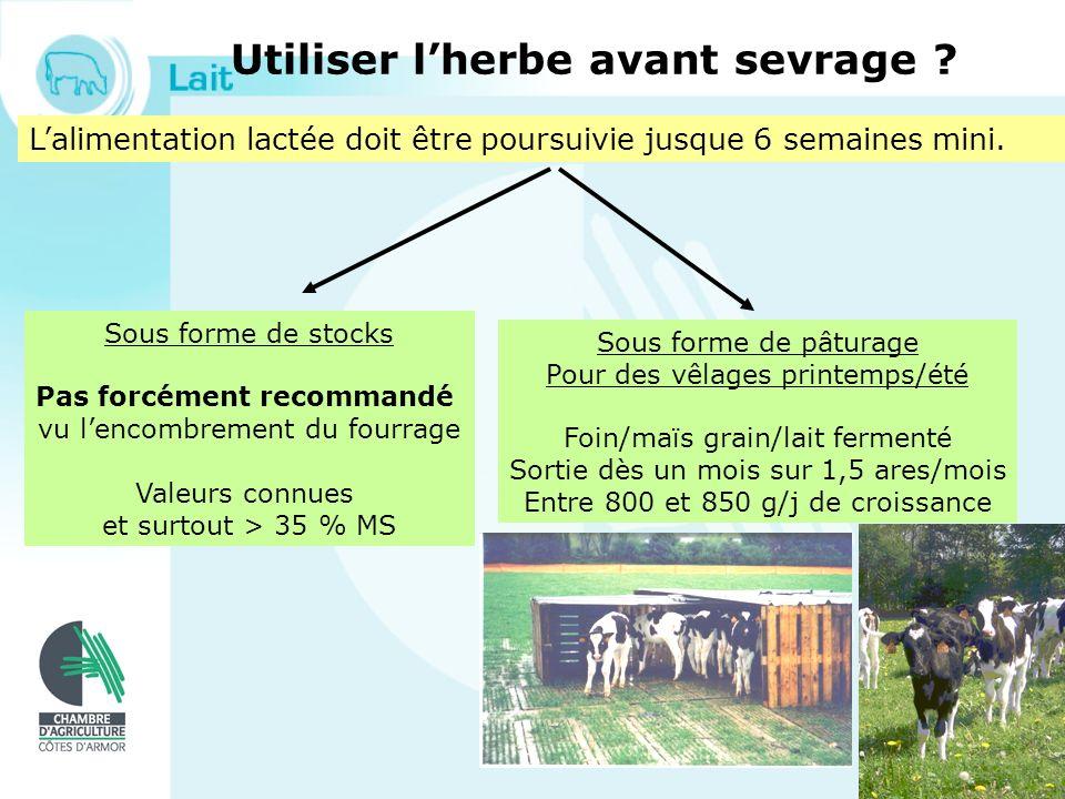 Le pâturage des génisses Les génisses de 2 ème année dherbe Équilibre pousse / consommation Exemple Une génisse de 18 mois (et vêlant à 24) a des besoins quotidiens de 6,7 UFL.