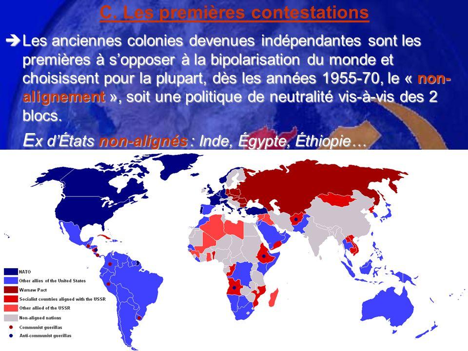 C. Les premières contestations Les anciennes colonies devenues indépendantes sont les premières à sopposer à la bipolarisation du monde et choisissent