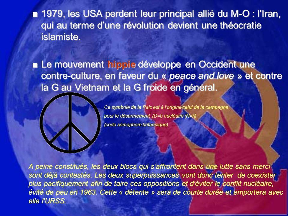 1979, les USA perdent leur principal allié du M-O : lIran, qui au terme dune révolution devient une théocratie islamiste.1979, les USA perdent leur principal allié du M-O : lIran, qui au terme dune révolution devient une théocratie islamiste.