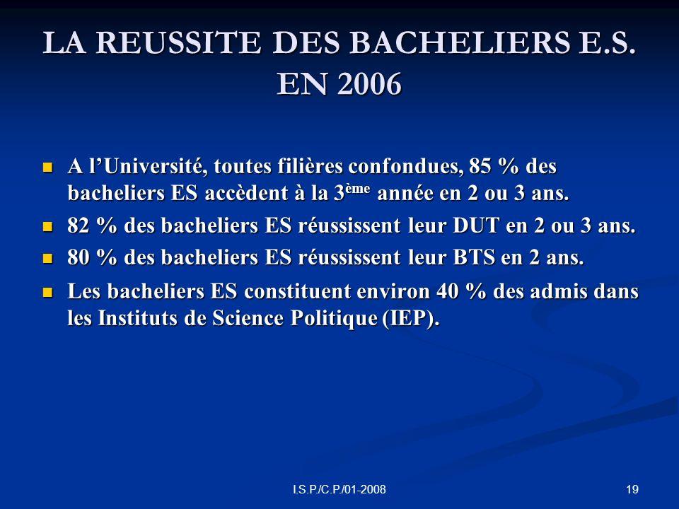 19I.S.P./C.P./01-2008 LA REUSSITE DES BACHELIERS E.S.