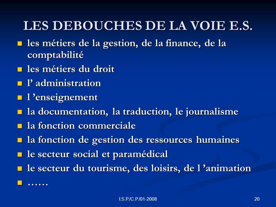 20I.S.P./C.P./01-2008 LES DEBOUCHES DE LA VOIE E.S.