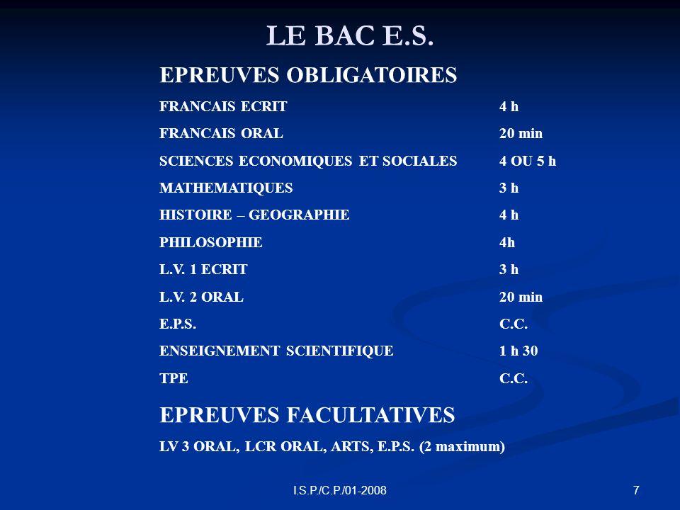 8I.S.P./C.P./01-2008 LES COEFFICIENTS DU BAC E.S.