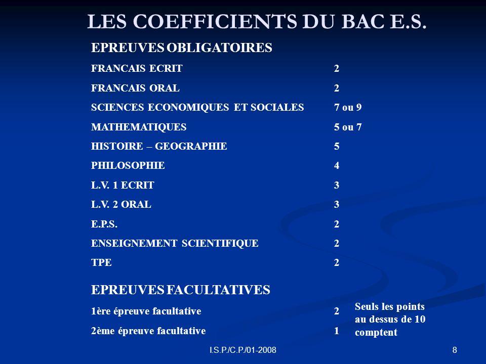 9I.S.P./C.P./01-2008 APRES UN BAC E.S.
