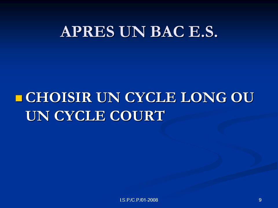 9I.S.P./C.P./01-2008 APRES UN BAC E.S. CHOISIR UN CYCLE LONG OU UN CYCLE COURT CHOISIR UN CYCLE LONG OU UN CYCLE COURT