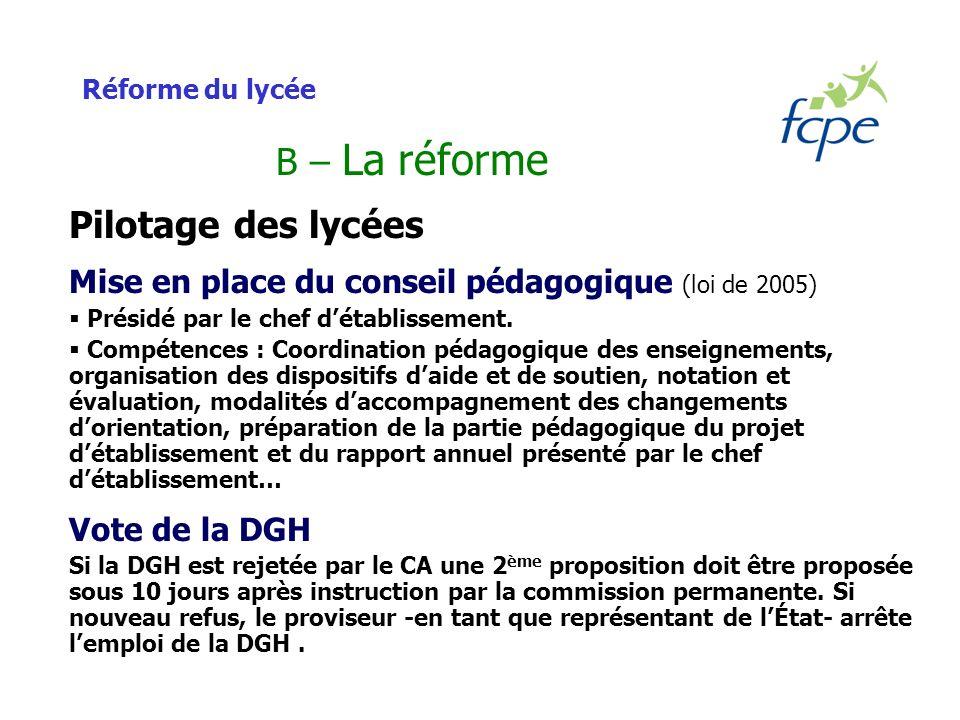Réforme du lycée B – La réforme Pilotage des lycées Mise en place du conseil pédagogique (loi de 2005) Présidé par le chef détablissement.