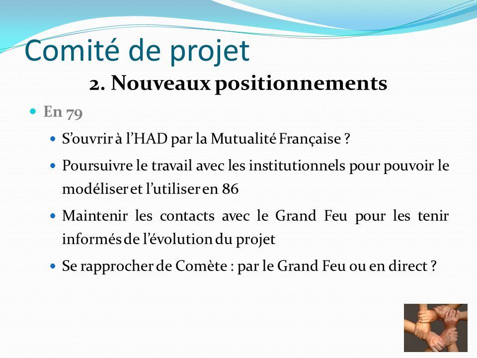 Comité de projet 2. Nouveaux positionnements En 79 Souvrir à lHAD par la Mutualité Française ? Poursuivre le travail avec les institutionnels pour pou