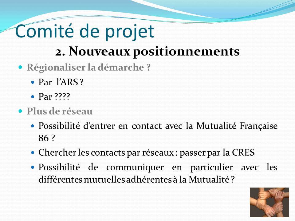 Comité de projet 2. Nouveaux positionnements Régionaliser la démarche ? Par lARS ? Par ???? Plus de réseau Possibilité dentrer en contact avec la Mutu