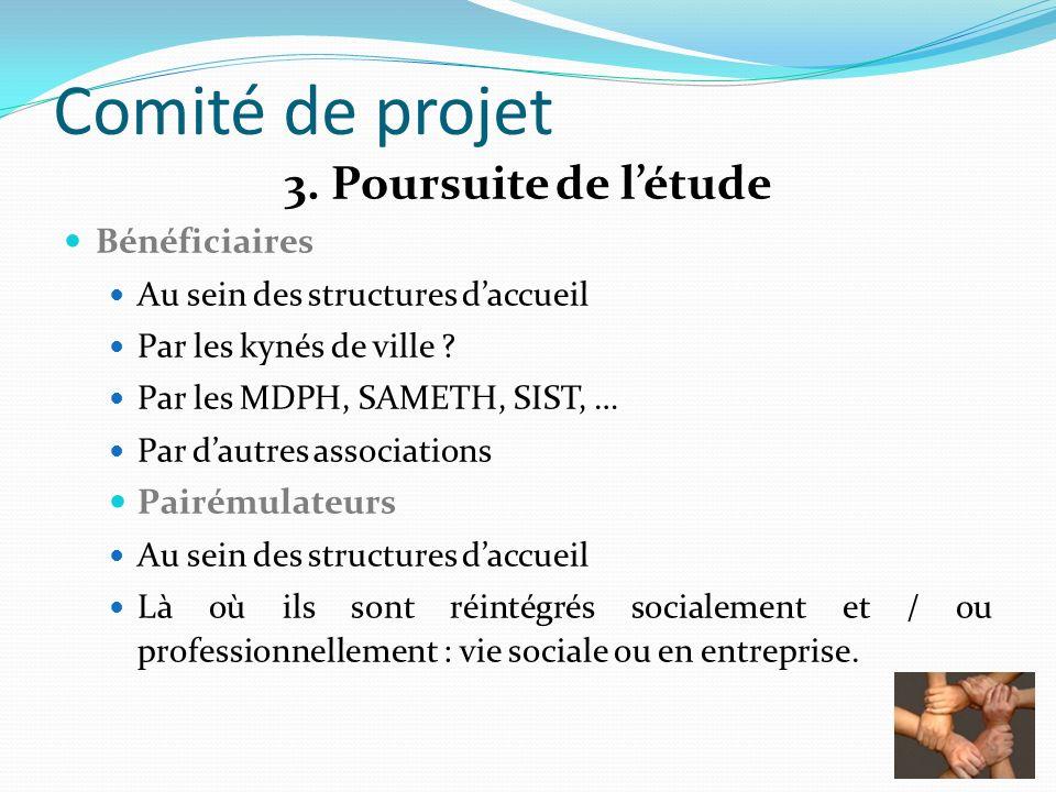 Comité de projet 3. Poursuite de létude Bénéficiaires Au sein des structures daccueil Par les kynés de ville ? Par les MDPH, SAMETH, SIST, … Par dautr