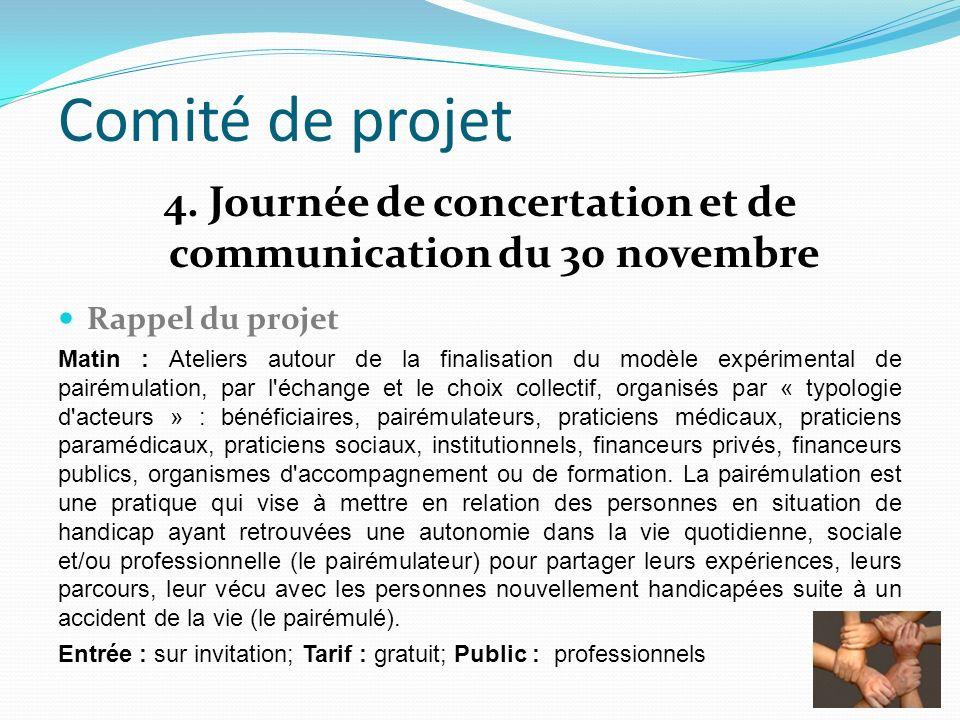 Comité de projet 4. Journée de concertation et de communication du 30 novembre Rappel du projet Matin : Ateliers autour de la finalisation du modèle e