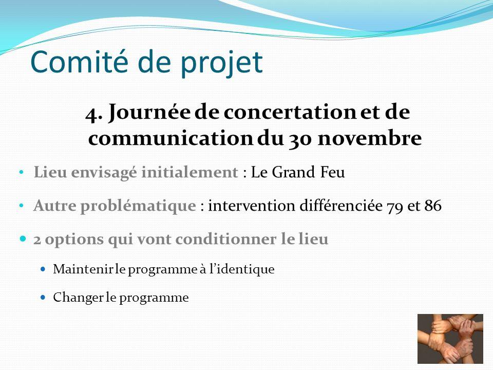 Comité de projet 4. Journée de concertation et de communication du 30 novembre Lieu envisagé initialement : Le Grand Feu Autre problématique : interve