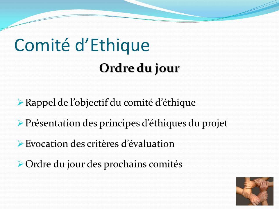 Comité dEthique Ordre du jour Rappel de lobjectif du comité déthique Présentation des principes déthiques du projet Evocation des critères dévaluation