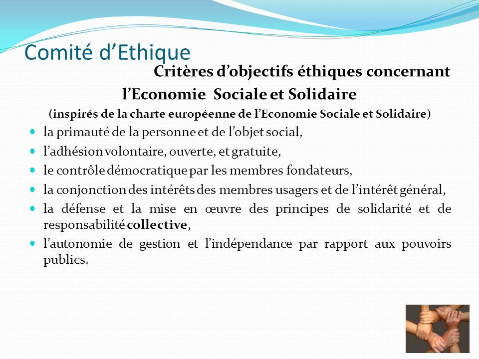Comité dEthique Critères dobjectifs éthiques concernant lEconomie Sociale et Solidaire (inspirés de la charte européenne de lEconomie Sociale et Solid