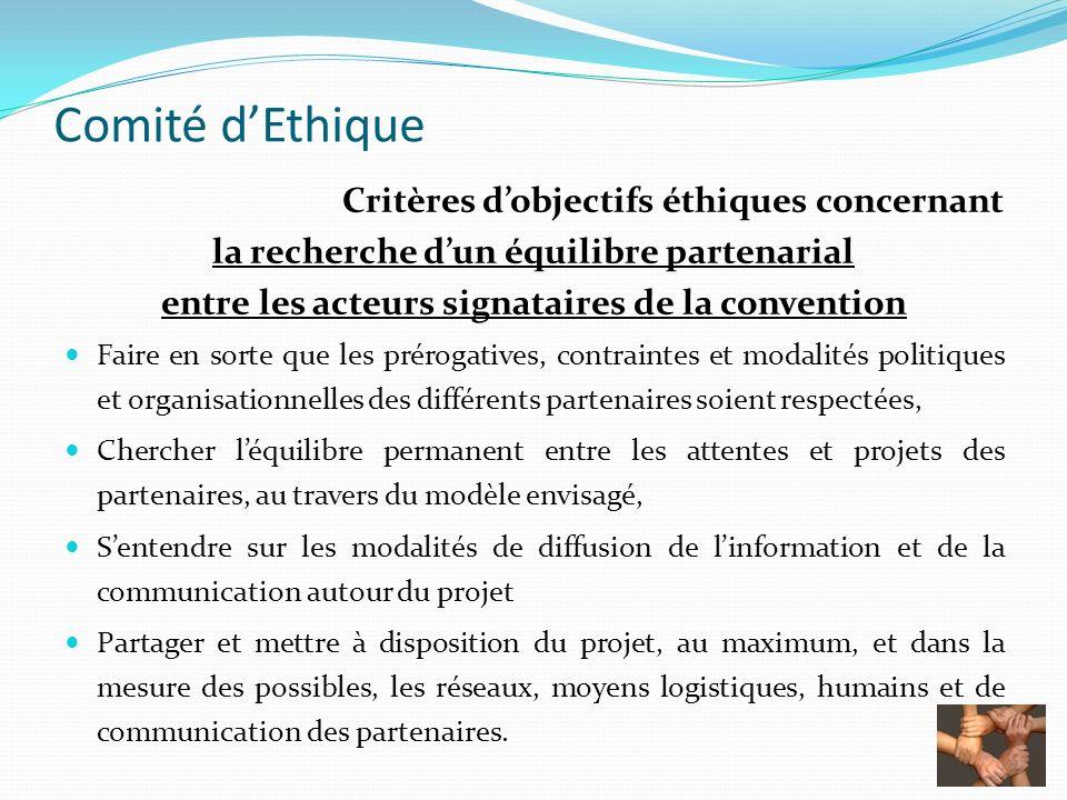 Comité dEthique Critères dobjectifs éthiques concernant la recherche dun équilibre partenarial entre les acteurs signataires de la convention Faire en