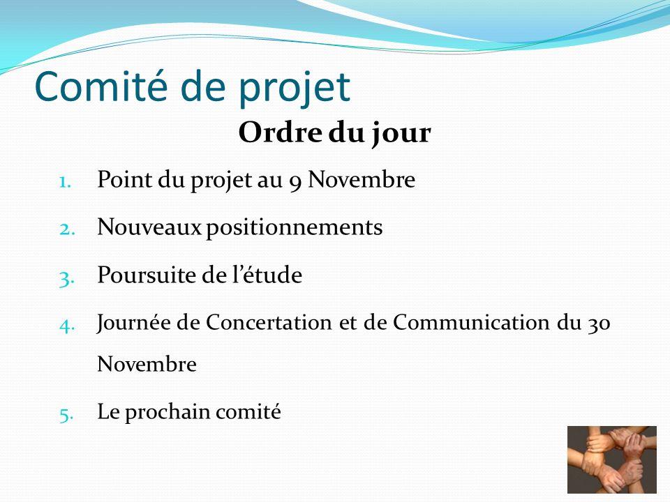 Ordre du jour 1. Point du projet au 9 Novembre 2. Nouveaux positionnements 3. Poursuite de létude 4. Journée de Concertation et de Communication du 30