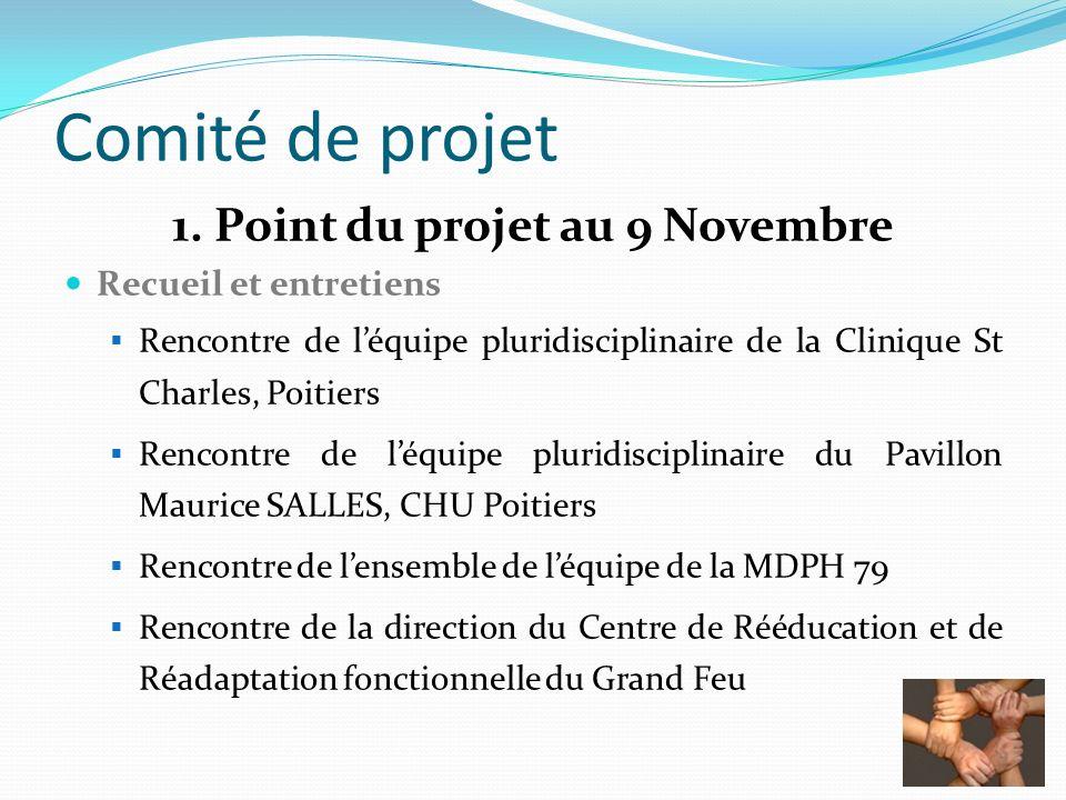Comité de projet 1. Point du projet au 9 Novembre Recueil et entretiens Rencontre de léquipe pluridisciplinaire de la Clinique St Charles, Poitiers Re
