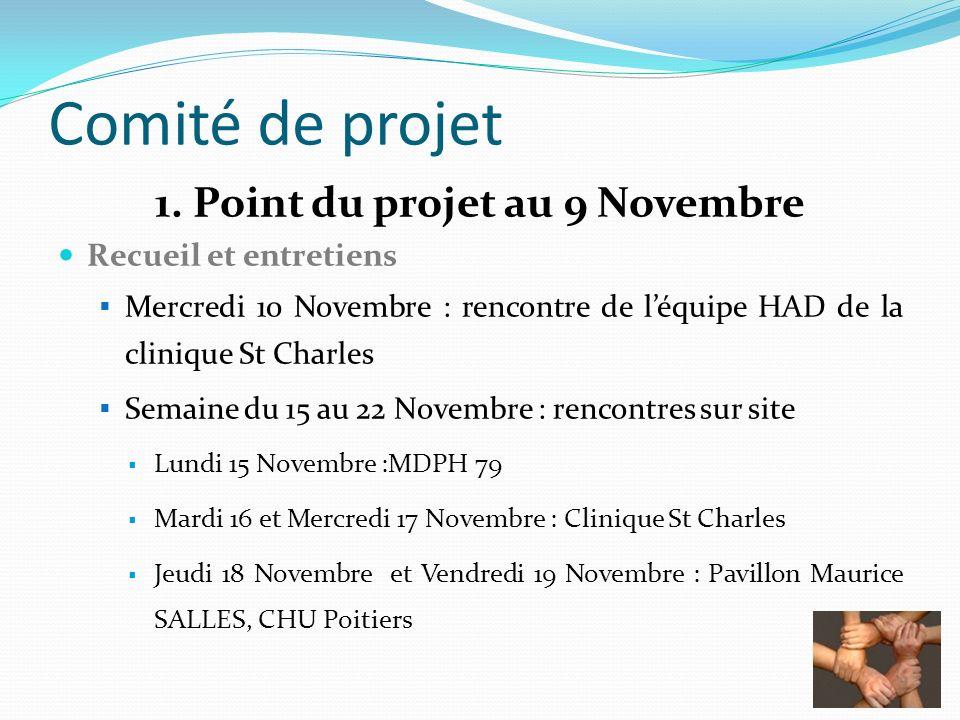 Comité de projet 1. Point du projet au 9 Novembre Recueil et entretiens Mercredi 10 Novembre : rencontre de léquipe HAD de la clinique St Charles Sema