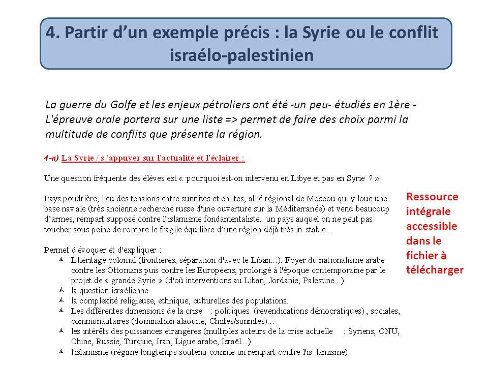 4. Partir dun exemple précis : la Syrie ou le conflit israélo-palestinien La guerre du Golfe et les enjeux pétroliers ont été -un peu- étudiés en 1ère
