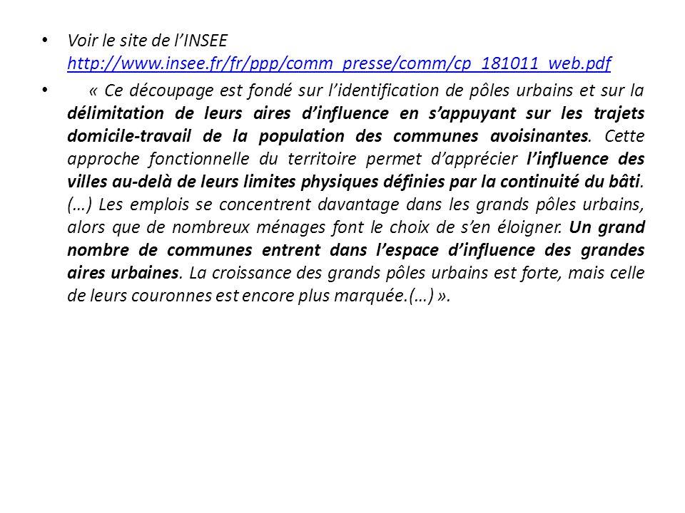 Voir le site de lINSEE http://www.insee.fr/fr/ppp/comm_presse/comm/cp_181011_web.pdf http://www.insee.fr/fr/ppp/comm_presse/comm/cp_181011_web.pdf « Ce découpage est fondé sur lidentification de pôles urbains et sur la délimitation de leurs aires dinfluence en sappuyant sur les trajets domicile-travail de la population des communes avoisinantes.