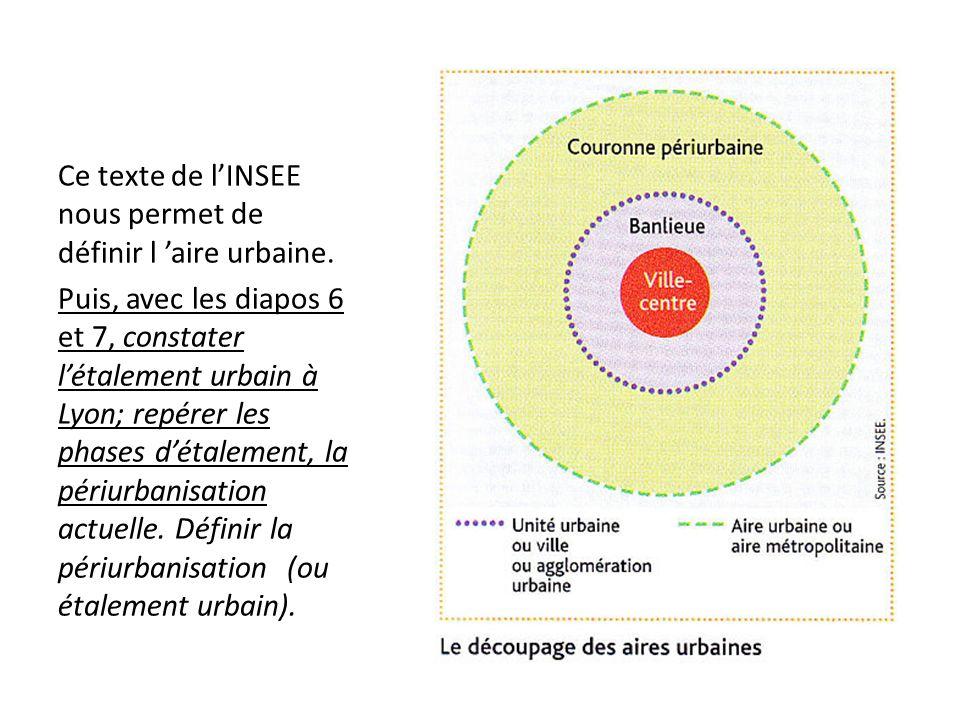 Ce texte de lINSEE nous permet de définir l aire urbaine. Puis, avec les diapos 6 et 7, constater létalement urbain à Lyon; repérer les phases détalem