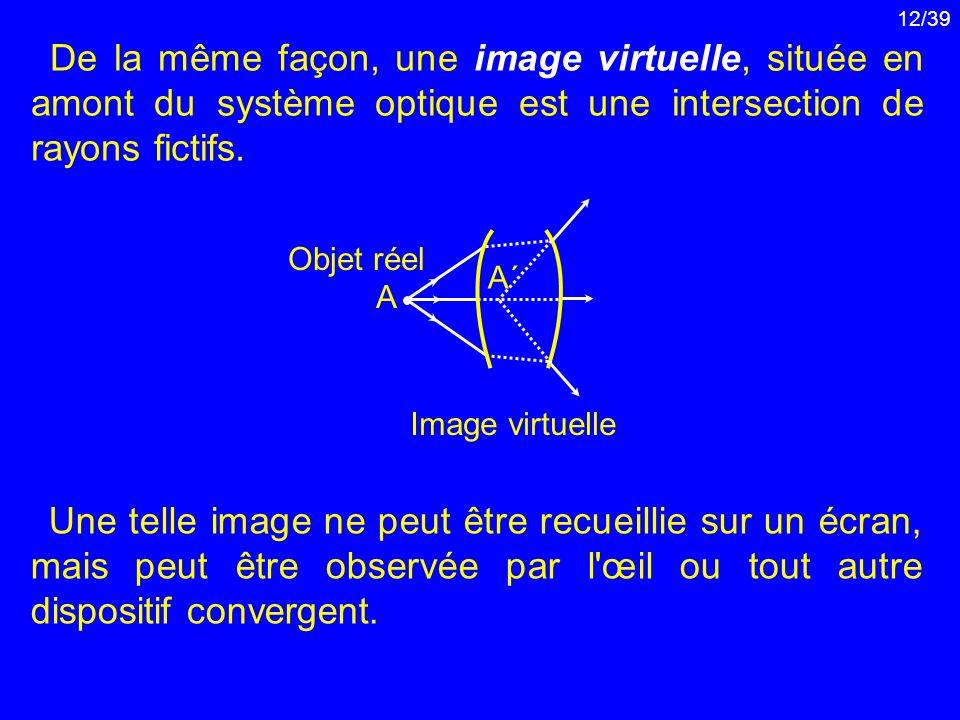 12/39 De la même façon, une image virtuelle, située en amont du système optique est une intersection de rayons fictifs. A´A´ Image virtuelle A Objet r