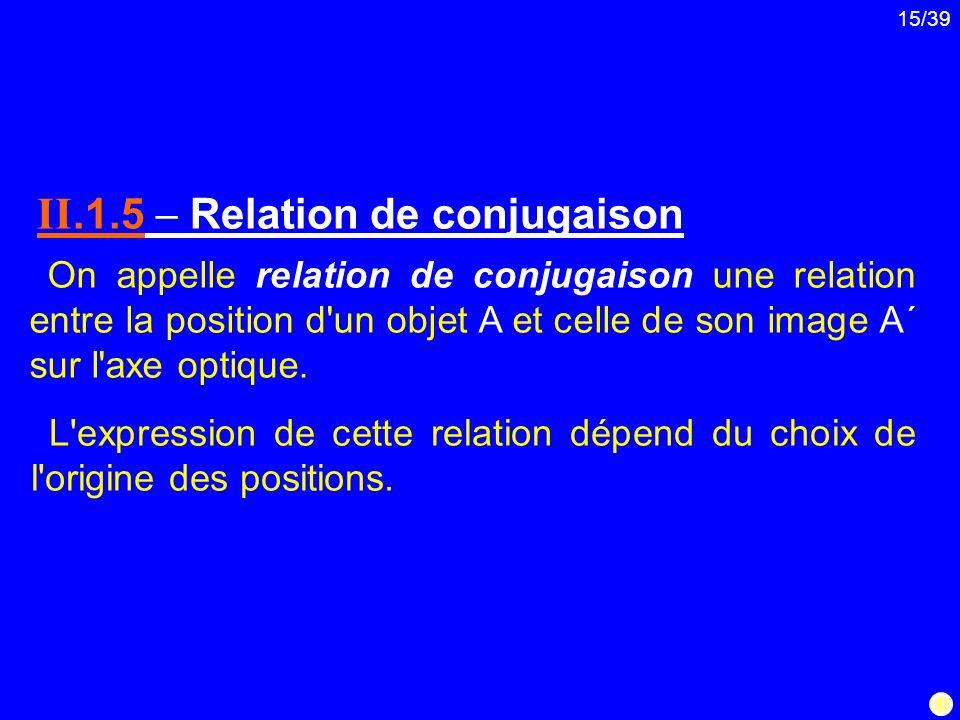 15/39 On appelle relation de conjugaison une relation entre la position d'un objet A et celle de son image A΄ sur l'axe optique. II.1.5 Relation de co