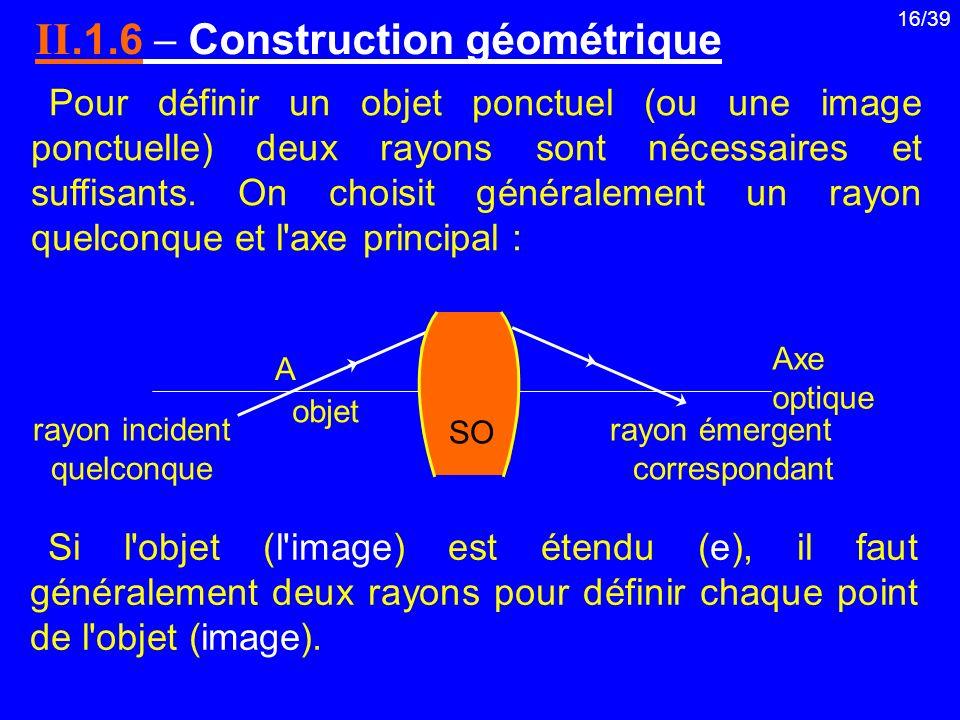 16/39 Pour définir un objet ponctuel (ou une image ponctuelle) deux rayons sont nécessaires et suffisants. On choisit généralement un rayon quelconque