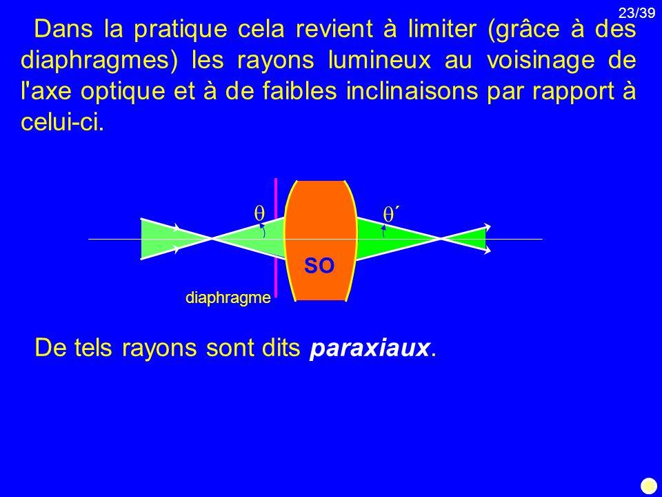 23/39 Dans la pratique cela revient à limiter (grâce à des diaphragmes) les rayons lumineux au voisinage de l'axe optique et à de faibles inclinaisons