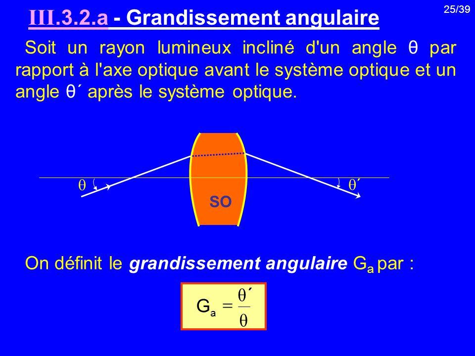 25/39 Soit un rayon lumineux incliné d'un angle θ par rapport à l'axe optique avant le système optique et un angle θ ΄ après le système optique. III.3